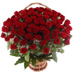 Kosz 100 róż Telekwiaciarnia