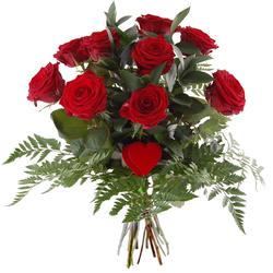 Bukiet 9 róż z sercem Telekwiaciarnia